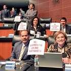 PAN, PRD y PT protestan en Senado; acusan 'INE partidista'