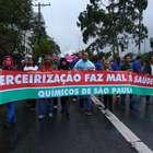 Trabalhadores protestam contra a terceirização; veja fotos