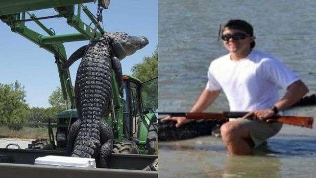 Jovem diz ter 'pescado' o maior crocodilo j encontrado em regio