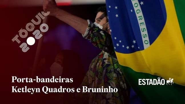 Porta-bandeiras Ketleyn Quadros e Bruninho desfilam na cerimônia de abertura