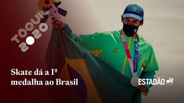 Com 36,15 pontos, skatista Kelvin Hoefler ganha primeira medalha do Brasil nos Jogos