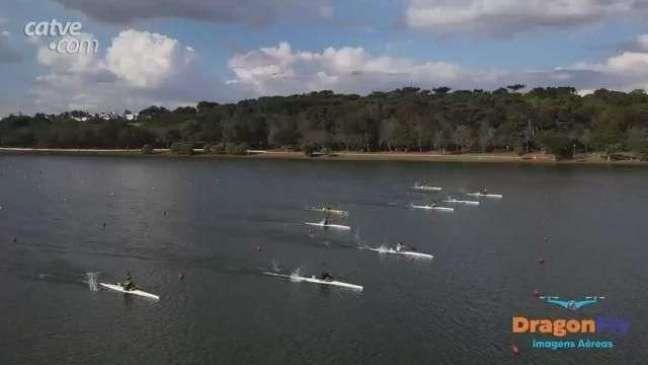 Imagens de drone mostram competições de canoagem no Lago Municipal
