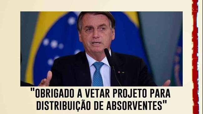 Bolsonaro diz a apoiadores que foi obrigado a vetar projeto para distribuição de absorventes